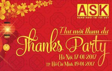 THƯ MỜI THAM DỰ THANKS PARTY